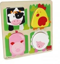 Jumbo Spiele - Goula Holzpuzzle - Bauernhoftiere mit Plüscheinlage, 4 Teile