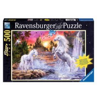 Ravensburger Puzzle - Leuchtpuzzle - Einhörner am Fluss, 500 Teile