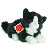 Teddy-Hermann - Katze liegend schwarz/weiß, 20 cm