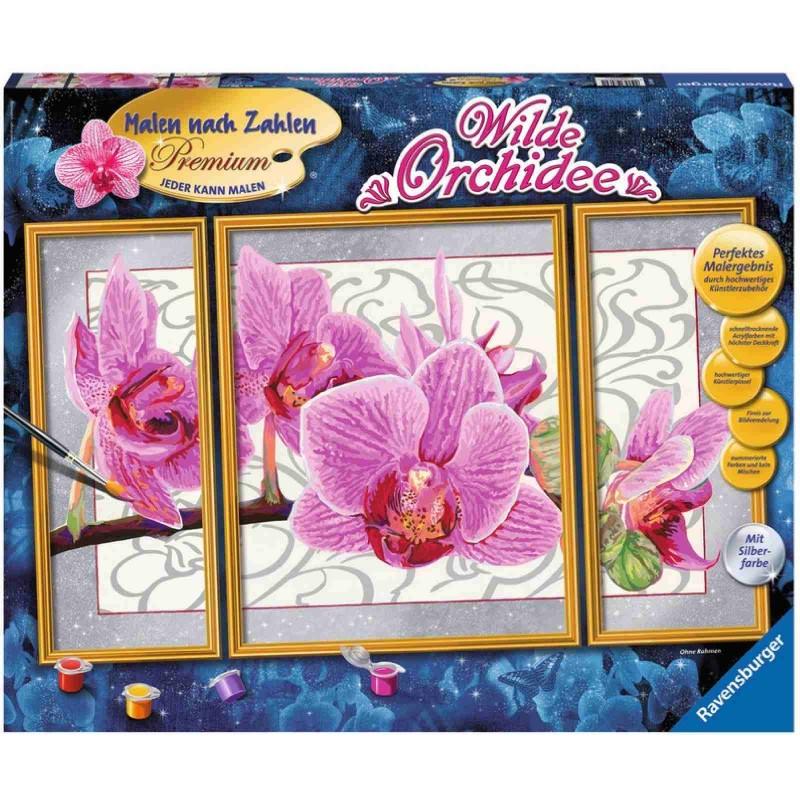 Ravensburger Spiel - Malen nach Zahlen Premium Triptychon - Wilde Orchidee