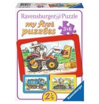 Ravensburger Puzzle - my first Puzzle - Bagger, Traktor und Kipplader, 6 Teile