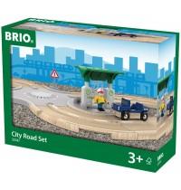 BRIO Bahn - Straßen Set mit Kreisverk