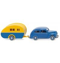 Wiking - Ford Taunus G73A mit Reiseanhänger - blau/gelb