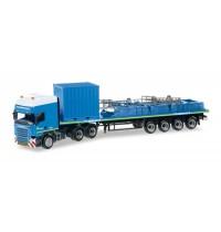 Herpa - Scania R TL Flachbett-Sattelzug mit 10 ft. Gerätecontainer und Palette