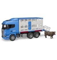 BRUDER - Scania R-Serie Tiertransport-LKW mit 1 Rind