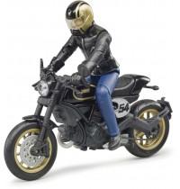 BRUDER - bworld - Scrambler Ducati Cafe Racer mit Fahrer