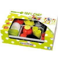 Ecoiffier - 100% Chef - Geschirrset im Abtropf-Gitterkorb