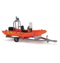 Busch Modellbahnzubehör - Anhänger mit Motorboot, DLRG