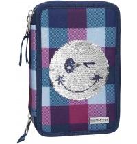 Depesche - TOPModel - 3-fach Federtasche Pailletten Smiley Blau