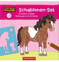 Coppenrath Verlag - Mein kleiner Ponyhof: Schablonen-Set mit Stickerbögen