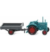 Wiking - Hanomag R 16 mit Anhänger - wasserblau/grau