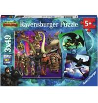 Ravensburger Puzzle - Dragons, Drachenzähmen leicht gemacht, 3x49 Teile