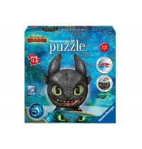 Ravensburger Puzzle - 3D Puzzle - Dragons 3 Ohnezahn mit Ohren, 72 Teile