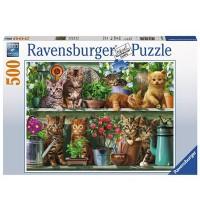 Ravensburger Puzzle - Katzen im Regal, 500 Teile