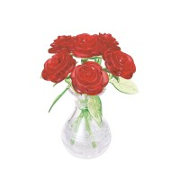 3D Crystal Puzzle - 6 rote RosEnte Nelli in der Vase 47 Teile