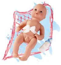 Aquini Badebaby Junge 33cm mit gemalten braunen Augen  Götz Puppenmanufaktur