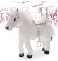 Weißer Blitz, Pferd mit Sound Götz Puppenmanufaktur