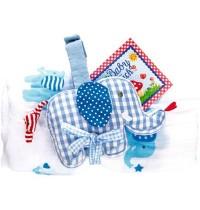 Die Spiegelburg - BabyGlück - Geschenkset Mulltuch und Spieluhr, hellblau