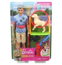 Mattel - Barbie - Ken Hundetrainer Spielset Puppe brünett mit zwei Hunden, Anzie
