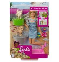 Mattel - Barbie - Badespaß Spielset Tiere und Puppe blond