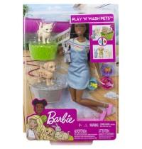 Mattel - Barbie - Badespaß Spielset Tiere und Puppe brünett