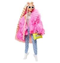 Mattel - Barbie Extra Puppe mit flauschiger rosa Jacke