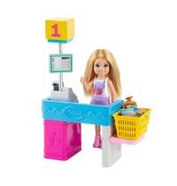 Mattel GTN67 Barbie Chelsea Puppe und Supermarkt Spielset