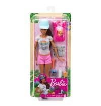 Mattel - Barbie Wanderin-Spielset Puppe mit Hund