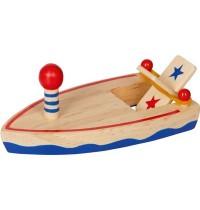 Die Spiegelburg - Bunte Geschenke - Holzboot mit Gummimotor