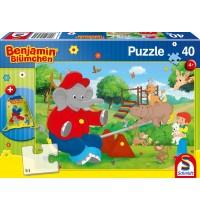 Schmidt Spiele Kinderpuzzle mit Turnbeutel, Benjamin Blümchen, 40 Teile