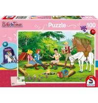 Schmidt Spiele Kinderpuzzle mit Turnbeutel, Bibi und Tina, 100 Teile