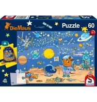 Schmidt Spiele Kinderpuzzle mit Turnbeutel, Die Maus, 60 Teile