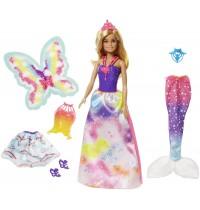 Mattel - Barbie Dreamtopia Regenbogen-Königreich 3-in-1 Fantasie Puppe Set
